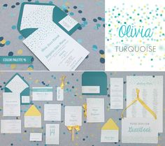 DIY turquoise polka dot wedding invitation suite, perfect for a confetti wedding! From Download & Print.