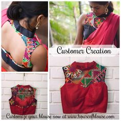 Our popular black silk hineck blouse (shown on top) with intricate multicolour Kutch work yoke customised to red silk by a customer to match her saree. All using our fun design web app at www.housofblouse.com ! *shipping worldwide* #saree #blouse #bollywood #fashion #style #indianwear #kutchwork