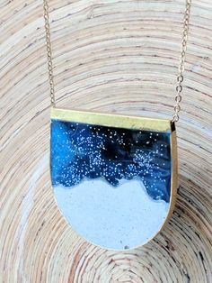 Moonscape Concrete and Resin Brass Necklace with Gold Plated Chain