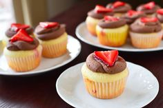 Strawberry Crepe Cupcakes with Nutella Frosting! So much easier than trying to make crepes!