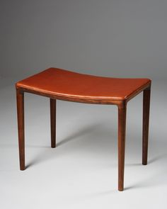 Helge Vestergaard Jensen; Rosewood and Leather Stool, 1950s.
