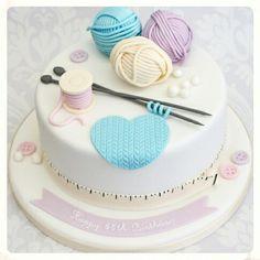 Female Cakes - The Fairy Cake Mother of Woodley Reading Berkshire Birthday Cakes to Wedding Cakes and all other Cakes Cupcakes and Cupcake Towers Grandma Birthday Cakes, 60th Birthday Cakes, Pretty Cakes, Cute Cakes, Fondant Cakes, Cupcake Cakes, Knitting Cake, Sewing Cake, Cake Design Inspiration