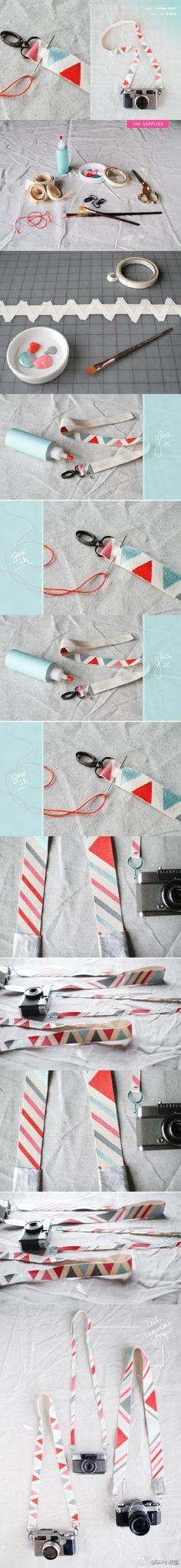 diy: camera strap, could also just cover the original camera strap