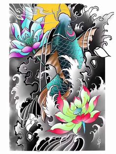 Pez Koi Tattoo, Koi Tattoo Sleeve, Koi Dragon Tattoo, Carp Tattoo, Tattoo Oriental, Koi Tattoo Design, Oriental Wallpaper, Hannya Mask Tattoo, Mobile Legend Wallpaper