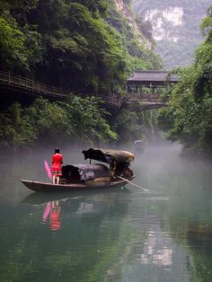 The village on the water at the Three-Gorges Tribe Scenic Spot, Yangtze River, Hubei Province, China  √
