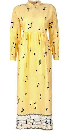 Musical notes dress by NISHKA LULLA. Shop at http://www.perniaspopupshop.com/whats-new/nishka-lulla-musical-notes-dress-nlc0813nis18.html