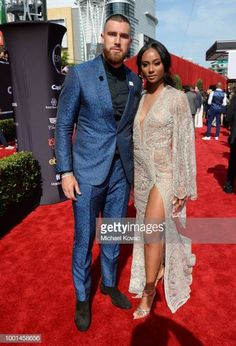 NFL player Travis Kelce and media personality Kayla Nicole attends the 2018 ESPY Awards Red Carpet Show Live Celebrates With Moet Chandon at. Black Woman White Man, Black Love, Cute Couples Goals, Couples In Love, Couple Goals, Espy Awards, Travis Kelce, Biracial Couples, Interacial Couples