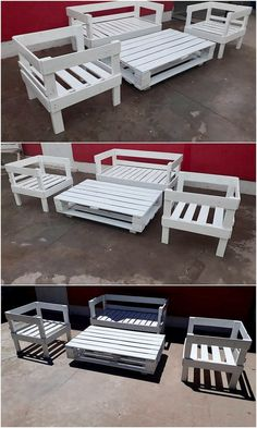 How adorable this outdoor furniture has been designed out for you where it has been on the whole manufactured with the use of the wood pallet where the infusion taste of the chairs, bench and table is also the part of it. Being shaded in the hues of the soft white hues of combinations make it look so playful.