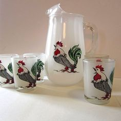 HTF Hazel Atlas Frosted White Pitcher and 5 Glasses With Gay Fad Rooster Design Perfect Condition by FineandFunThings on Etsy https://www.etsy.com/listing/229456801/htf-hazel-atlas-frosted-white-pitcher