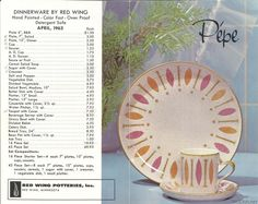 Red Wing  Pepe  Brochure  sc 1 st  Pinterest & Red Wing Dinnerware hand painted pattern Oval Shape Group ...