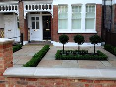 Imperial red brick London wall stone pier caps sandstone paving and formal topiary classic front garden Balham Victorian Front Garden, Victorian Terrace, Victorian Houses, Garden Design London, London Garden, Garden Paving, Garden Pool, Small Front Gardens, Small Front Garden Ideas Uk