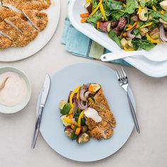 This chicken is coated with a nutritious crumb of chia seeds and coconut