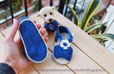 Sandaletti bebè crochet in doppia suoletta con orsetto Teddy - Amigurumi