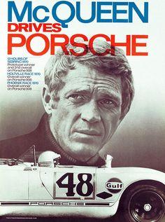 Steve McQueen Drives Porsche - 1970 - Promotional Race Poster