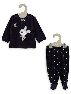 Pijama de terciopelo de 2 piezas                                                                                                 negro iris Bebé niña