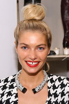 JESSICA HART'S TOP BUN  Best for: Long, fine hair, says Schlenger.   ~Schlenger's how-to: Start with a high tight ponytail. Tease the tail to create texture and density and wrap around a hair donut at the base to create the necessary fullness. This is a simple shape with visual impact.