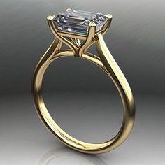 Sabra ring-175 karaat smaragd gesneden NEO moissanite