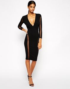 Black Sheer Strip TFNC Bodycon Dress With Spot Mesh Inserts @ ASOS $85