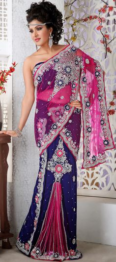 Blue Pink #Embroidered Net #Lehenga Style #Saree | @ $269.11