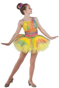 5265 Time To Shine | Tap Jazz Dance Costumes | Dansco 2015 | Gold sequin on yellow spandex and solid yellow spandex leotard with sequined rainbow mesh ruched overlay, shoulder strap and attached top skirt. Separate yellow chiffon tutu. Adjustable nude elastic straps and rhinestone buckle trim. Headpiece included.