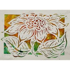 Sunflower Papercut ACEO Handcut Original Watercolor by ePaperCuts, $28.00