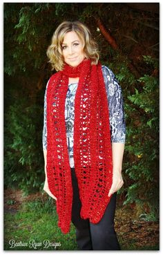 September Jewel Super Scarf by Beatrice Ryan Designs for the Red Heart Joy Creators Super Scarf Blog Hop