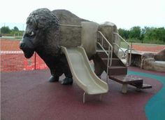 Buffalo/Bison Playground Slide:Playground theme design for indoor and outdoor playground.  Custom designs and solutions from DunRite Playgrounds http://www.dunriteplaygrounds.com/store