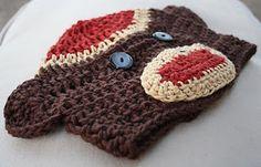 Free crochet pattern: sock monkey hat...FIRST need to learn how to crochet! ;*