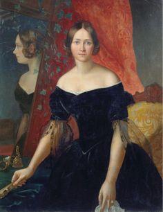 """Retrato de uma mulher por Apollon Mokritsky, 1841, Museu de Arte de Kaluga EDIT: tinha de incluir essa resposta não-é-não-caixa, porque eu achei que foi ótimo.  Eu quase rolado superar isso, mas alguma coisa me pegou desprevenido.  Eu acho que é os olhos.  Eles estão olhando diretamente para você e eles não são tímidos ou modesto ou deferente.  Ela está olhando diretamente para você, você, pessoalmente.  E parece que ela está pensando em alguma coisa, algo diferente de """"aqui você pode olhar…"""