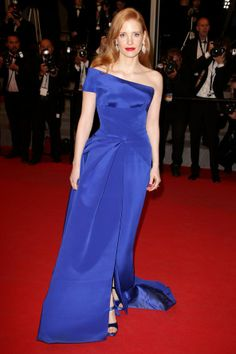 Jessica Chastain wore a bold blue Atelier Versace gown.