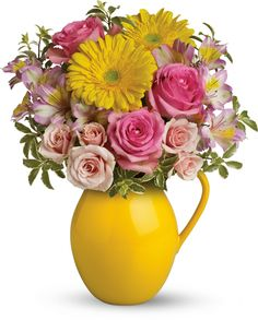 Teleflora's Sunny Day Pitcher Of Charm Flowers - Pour on the charm with this delightfully sunny mix! Arranged in our signature Sunny Day pitcher - a lovely gift - this mix of bright gerberas and deli. Summer Flower Arrangements, Floral Centerpieces, Floral Arrangements, Christmas Centerpieces, Bouquet Delivery, Flower Delivery, Easter Flowers, Summer Flowers, Flowers For Valentines Day