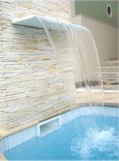 New Modern Stone Patio Water Features Ideas Swimming Pool Waterfall, Swimming Pool Tiles, Swimming Pool Landscaping, Swimming Pool Designs, Small Outdoor Patios, Small Backyard Pools, Small Pools, Backyard Patio, Apartment Backyard