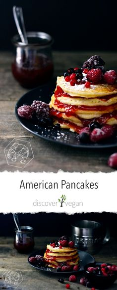 Vegan American pancakes with raspberry jam and wild berries are fluffy, delicious, really quick to make and require only few ingredients. American Pancakes, Jam Recipes, Vegan Recipes, Few Ingredients, Food Items, Breakfast Recipes, Raspberry, Sweet Tooth, Food Photography