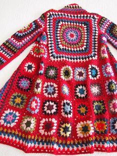 Red, Granny Square ,Coat,  hoody, jacket,  hand knitting, wool ,mohair, acrylic,Handmade, knitted coat,cardigan, sweatshirt,