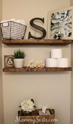 DIY Bathroom Decor Ideas - DIY Faux Floating Shelves - Cool Do It Yourself Bath Ideas on A Budget, Rustic Bathroom Fixtures, Creative Wall Art, Rugs, Mason Jar Accessories and Easy Projects diy Downstairs Bathroom, Diy Bathroom Decor, Bathroom Fixtures, Bathroom Cabinets, Bathroom Organization, Master Bathroom, Organization Ideas, Bathroom Vanities, Toilet Room Decor