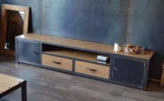 mueble tv lcd led industrial vintage- rack madera y hierro