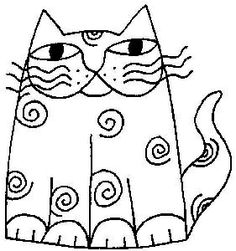 Swirl Cat wood-mounted rubber stamp nice pattern for embroidery ! Mosaic Patterns, Embroidery Patterns, Quilting Patterns, Quilting Designs, Cat Template, Templates, Cat Quilt, Art Drawings For Kids, Laurel Burch