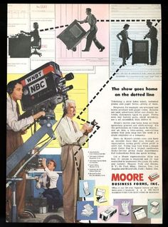 1951 Wnbt Nbc Tv Station Camera Photo Moore Business Forms Vintage Print Ad from $14.75