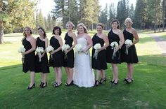 black bridesmaid dresses with white bouquets