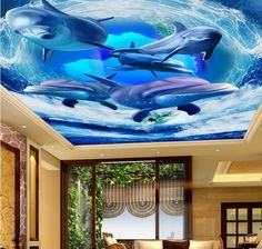 55.00$  Watch more here - http://aia22.worlditems.win/all/product.php?id=32797889221 - custom 3d ceiling photo Wave dolphin 3d ceiling murals wallpaper home decor wallpaper on the ceiling papel de parede