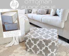 DIY Ottoman or floor pouf made from mattress cubes!