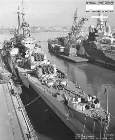 USS Montpelier at Mare Island Navy Yard, California, United States following overhaul, 21 Oct 1944; USS Indianapolis in background