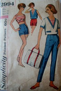 Simplicity 2994 Women's 50s Sewing Pattern Bra, Pants, Shorts & Overblouse Bust 38