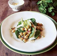 CHICKPEA AND SPINACH SALAD http://www.finecooking.com/recipes/chickpea-spinach-salad.aspx