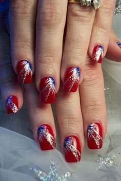 4th of July nails, red nails with blue white fan brush accents, silver glitter free hand nail art by monica