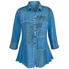 CATALOG CLASSICS Women's Tunic Top Chambray Denim Button Down Shirt ($75) ❤ liked on Polyvore featuring tops, tunics, button-down shirt, button up shirts, denim button up shirt, denim button down shirt and button up tunic