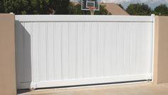 Sliding Driveway Gates | Driveway Gates: a sliding driveway gate with PVC pickets
