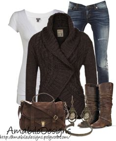 Grey pants, sweater, white blouse, winter shoes and white hand bag ...