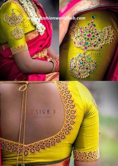 It is the dream of every bride to look like princess on their wedding day and it is a wish of every bride to spot on. There is one important moment in Indian weddings when all wedding attendees have… Cutwork Blouse Designs, Wedding Saree Blouse Designs, Pattu Saree Blouse Designs, Simple Blouse Designs, Embroidery Neck Designs, Blouse Neck Designs, Hand Embroidery, Traditional Blouse Designs, Hand Work Blouse Design