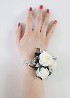 """Silver Rhinestone Corsage Wristlet Bracelet - .5"""" Wide"""